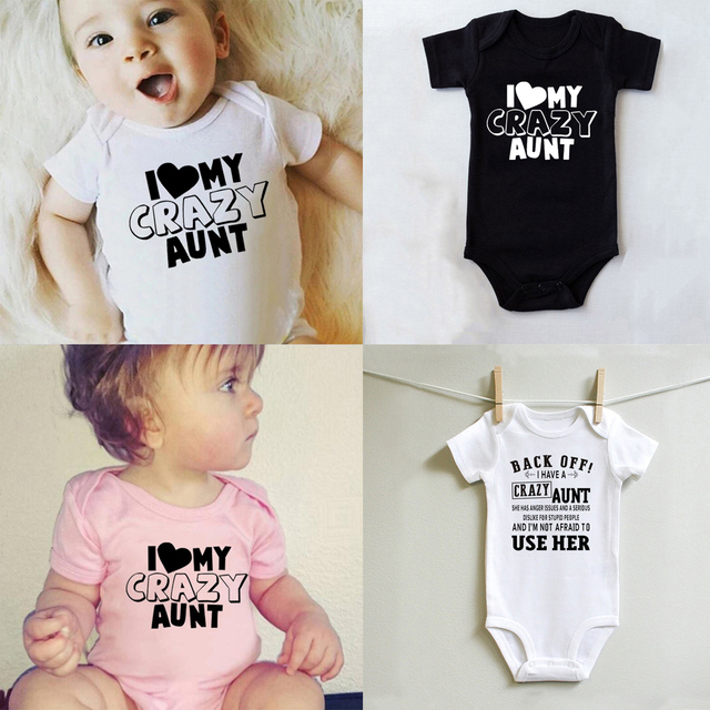 I Love My Crazy Aunt Printed Baby Bodysuit Cute Summer Short Sleeve Casual Rompers Body Baby Boy Girl Onesies Jumpsuit Clothes