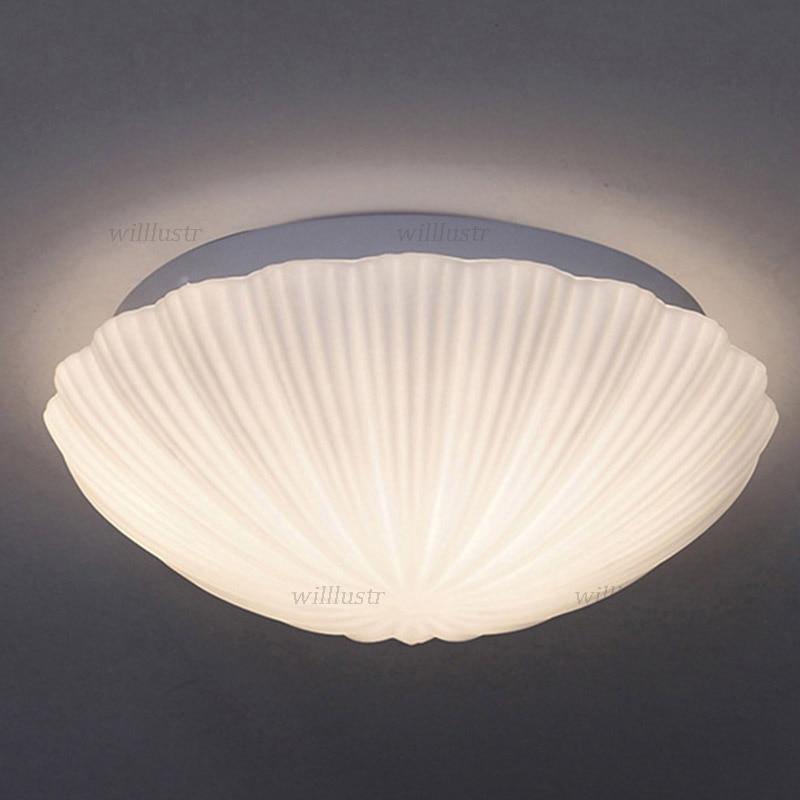 Современная стеклянная потолочная лампа в виде ракушки, креативный светильник с цветами для фойе, коридора, балкона, гостиной, столовой, спальни, минималистский светильник