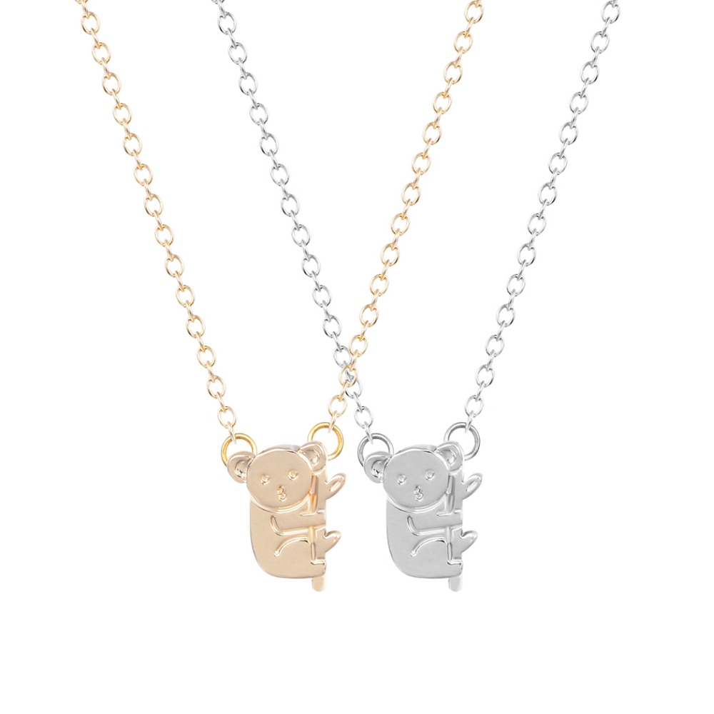 Gold fashion <font><b>Koala</b></font> Necklace Women Baby Australian <font><b>Koala</b></font> <font><b>Bear</b></font> Woodland Necklaces Pendants Animal <font><b>Jewelry</b></font> Collier Femme image