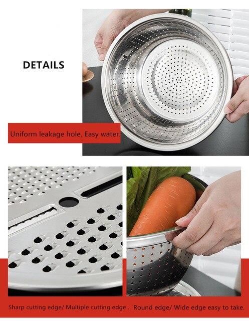 3 pi ces en acier inoxydable pot coupe l gumes trancheuse drain panier tamis passoire cuisine