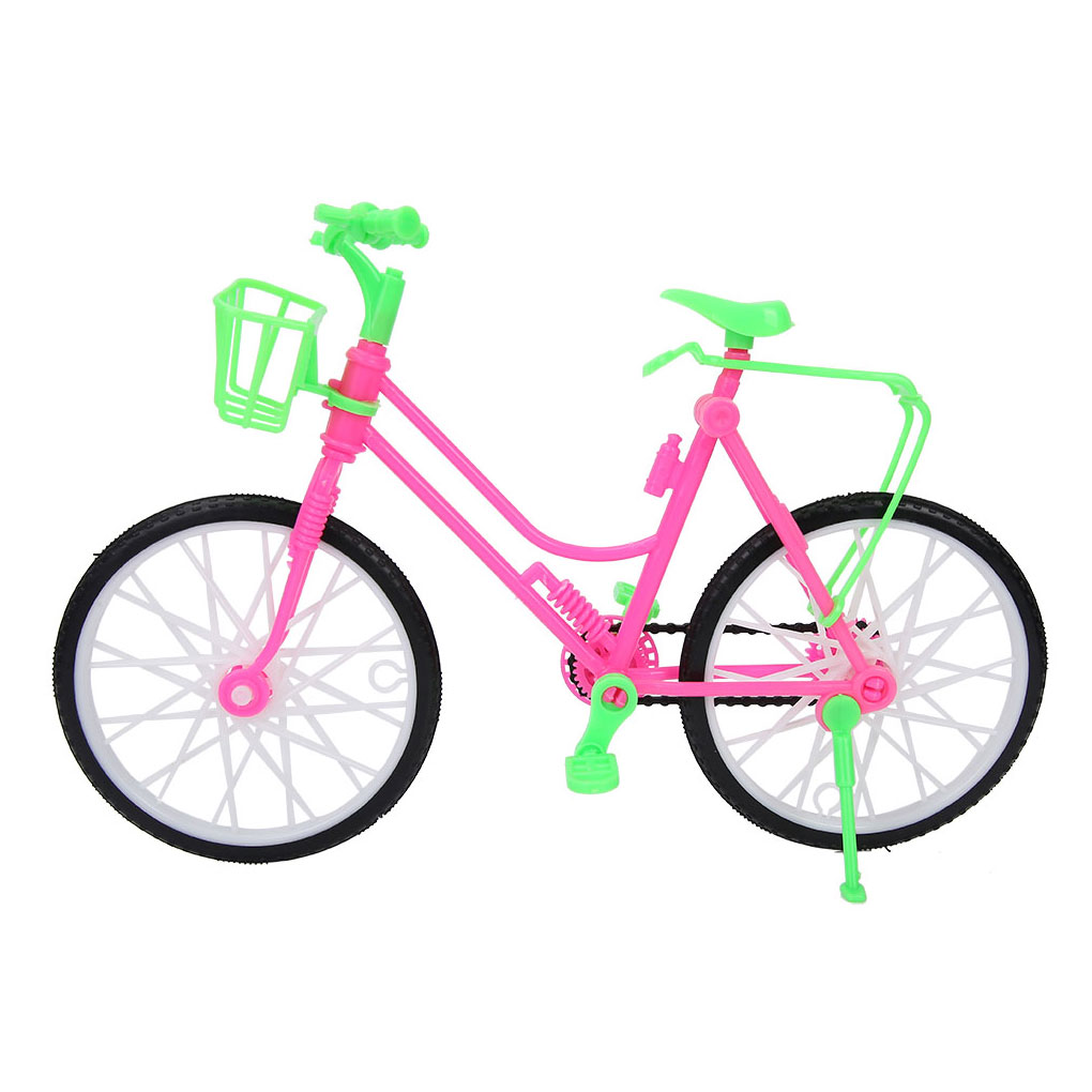 Girls Miniature Bicycle Detachable Plastic One-seat Bike With Basket Dollhouse Accessories For Barbie Doll Toys