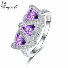 Lingmei Charming Dazzling Women Fashion Triangle Cut Purple & Pink White Zircon Silver Ring Size 6 7 8 9 Gorgeous Wedding Gift