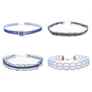 Готическое темпераментное синее кружевное бархатное колье-чокер для женщин короткое ожерелье-чокер на шею ключицы 2019 новые ювелирные изделия подарки FS10