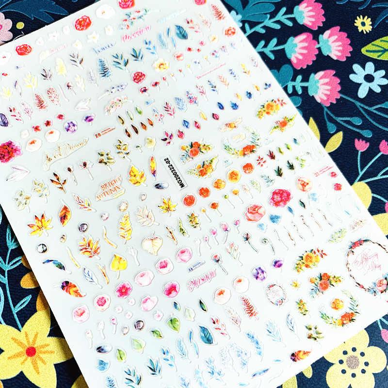 2020 ล่าสุดสีสันดอกไม้ 3D สติ๊กเกอร์เล็บสติ๊กเกอร์ปั๊มส่งออกญี่ปุ่น Designs rhinestones