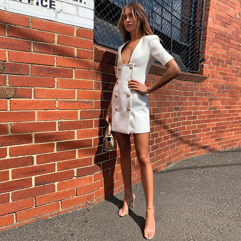 Gosexy 2019 Autumn Fashion Women Sexy Short Sleeve Squre Neck Botton Office Lady Elegant Party Club Bandage Slim Mini Dress