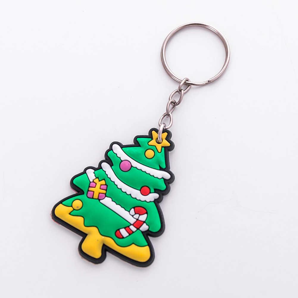 2Pcs Papai Noel Árvore de Natal Boneco de Urso Anel Chave Saco Cadeia Chaveiro Ornamento Novo
