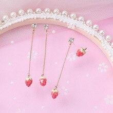 Hello Miss New Asymmetric Cartoon Strawberry Tassel Earrings Sweet Fruit Stud Earrings Fashion Women's Earrings Jewelry платье sweet miss sweet miss sw014ewbfoo6
