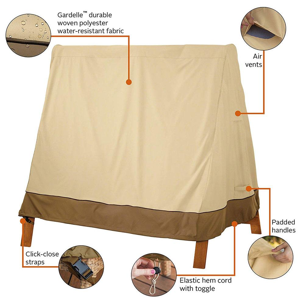 Outdoor Three-seat Swing Cover Veranda A-Frame For Garden Courtyard Accessories Waterproof Canopy Swing Protection Cover