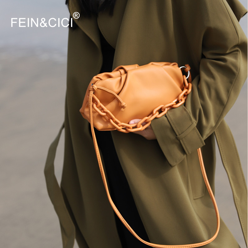 Day Clutch Evening Party Purse Dumpling Bag Women Ruched Pillow Messenger Bag PU Leather Pouch Chains Totes Handbag  2020 New