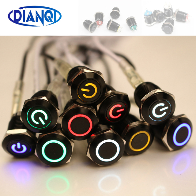 Black Push Button Switch 4 Pin 12mm Waterproof illuminated Led Light Metal Flat Momentary Switches with power mark 3V 6V 12V 24V
