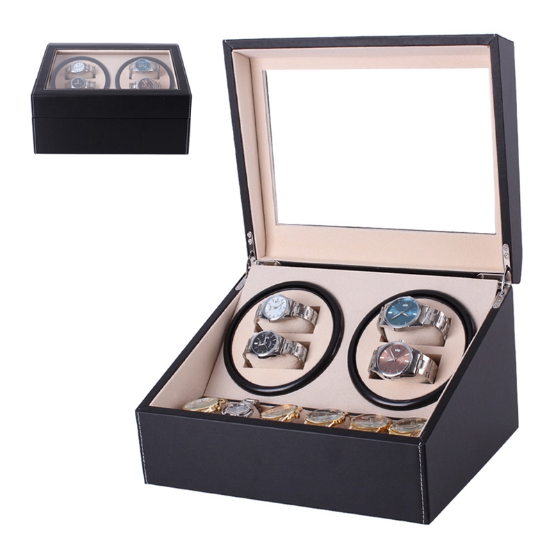 Automatic Mechanical Watch Winder Box Quiet Self-Winding Automatic Wooden Holder Storage Container Organizer Case Gift