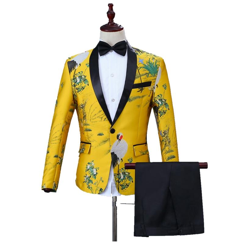 Fashion Men's Casual Suit Set Slim Lapel Inlay Crane Embroidered Adorn Yellow Business Suit Banquet Party Suit Set (jacket+pant)