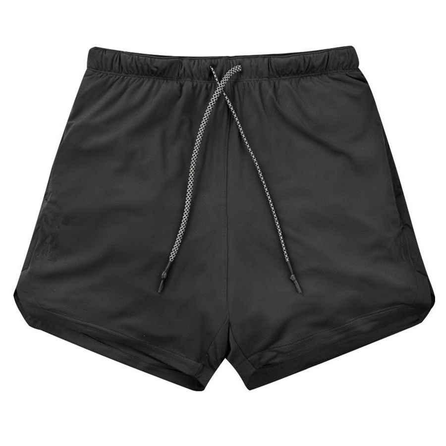 طبقة مزدوجة عداء ببطء السراويل الرجال 2 في 1 سراويل قصيرة صالات رياضية اللياقة البدنية المدمج في جيب برمودا سريعة الجافة شورتات للبحر الذكور Sweatpants