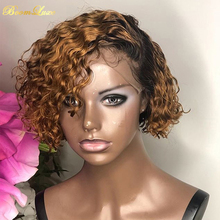 Ombre loira frente do laço perucas de cabelo humano encaracolado peruca cabelo humano brasileiro remy curto bob 13x4 fechamento peruca para as mulheres peruca dianteira do laço