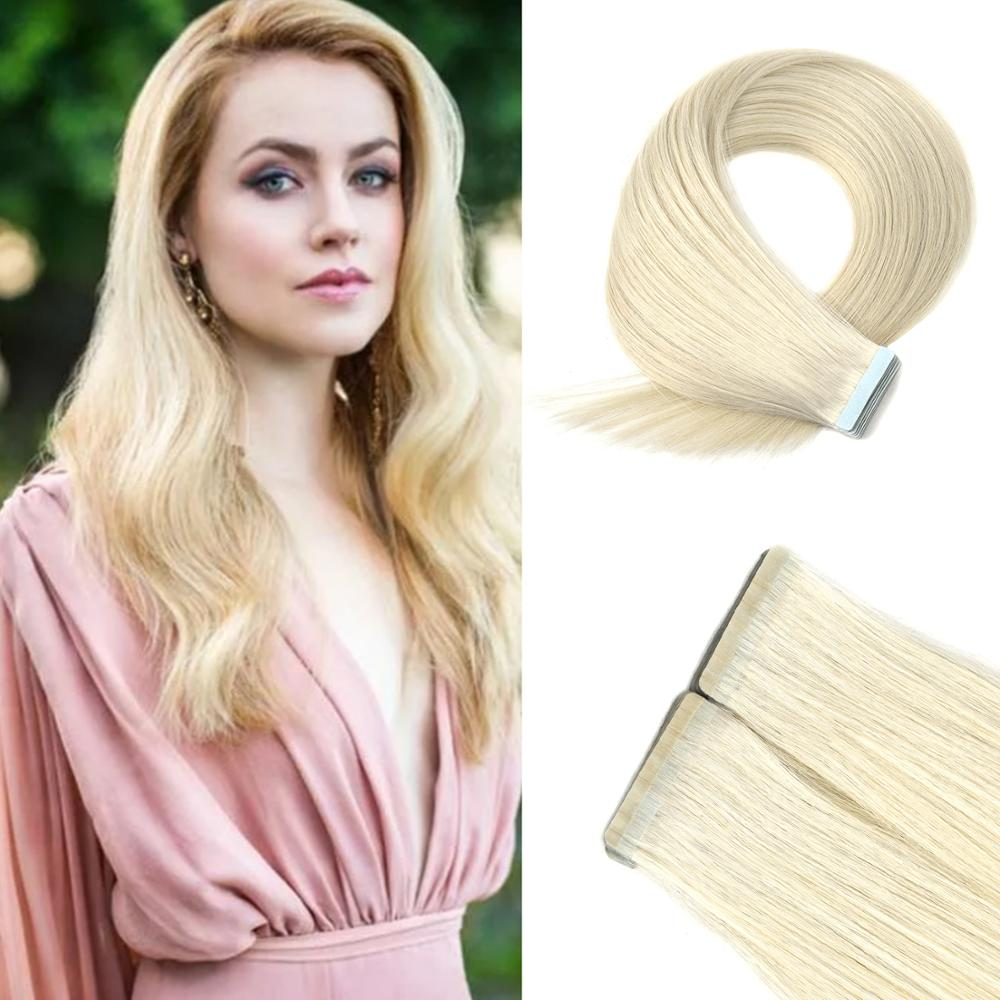 Vlasy 20'' Double-Deck Remy Hair Natural Straight Skin Weft Double Drawn Tape In Human Hair Extensions 2.5g/pc