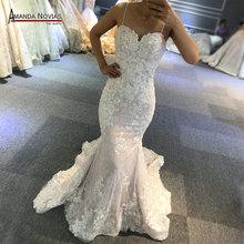 สายรัดลูกไม้ Mermaid งานแต่งงานชุดรูปแบบชายหาดจริงทำงาน Photo