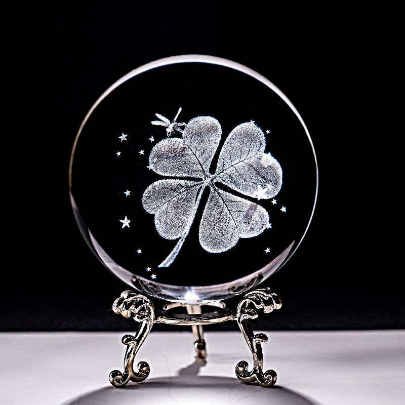 6CM Crystal Ball Four Leaf Clover Miniatures 3D Laser Engraved Glass Sphere Paperweight Home Decoration Ornaments Gifts Figurine