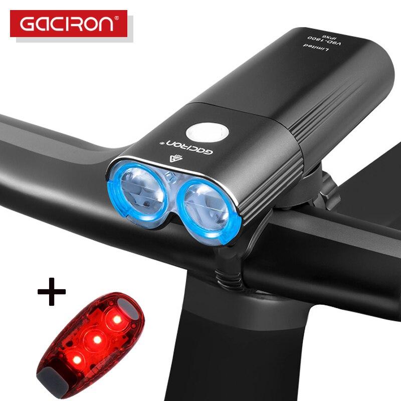 GACIRON 400 ~ 1800 LM vélo lumière PRO vélo phare avec feu arrière USB batterie externe IPX6 lampe de poche vtt vélo de route LED lampe Flash
