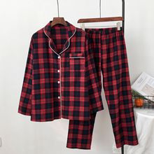 Sonbahar yeni uzun kollu pijama kadın Lapels rahat rahat pamuklu pijama kırmızı ızgara bayan pijama seti Loungewear Pj seti