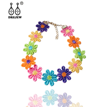 DREJEW Big Small Colorful Flower Instagram Statement Choker 2019 Crystal Chain Necklaces Sets for Women Wedding Jewelry HN513