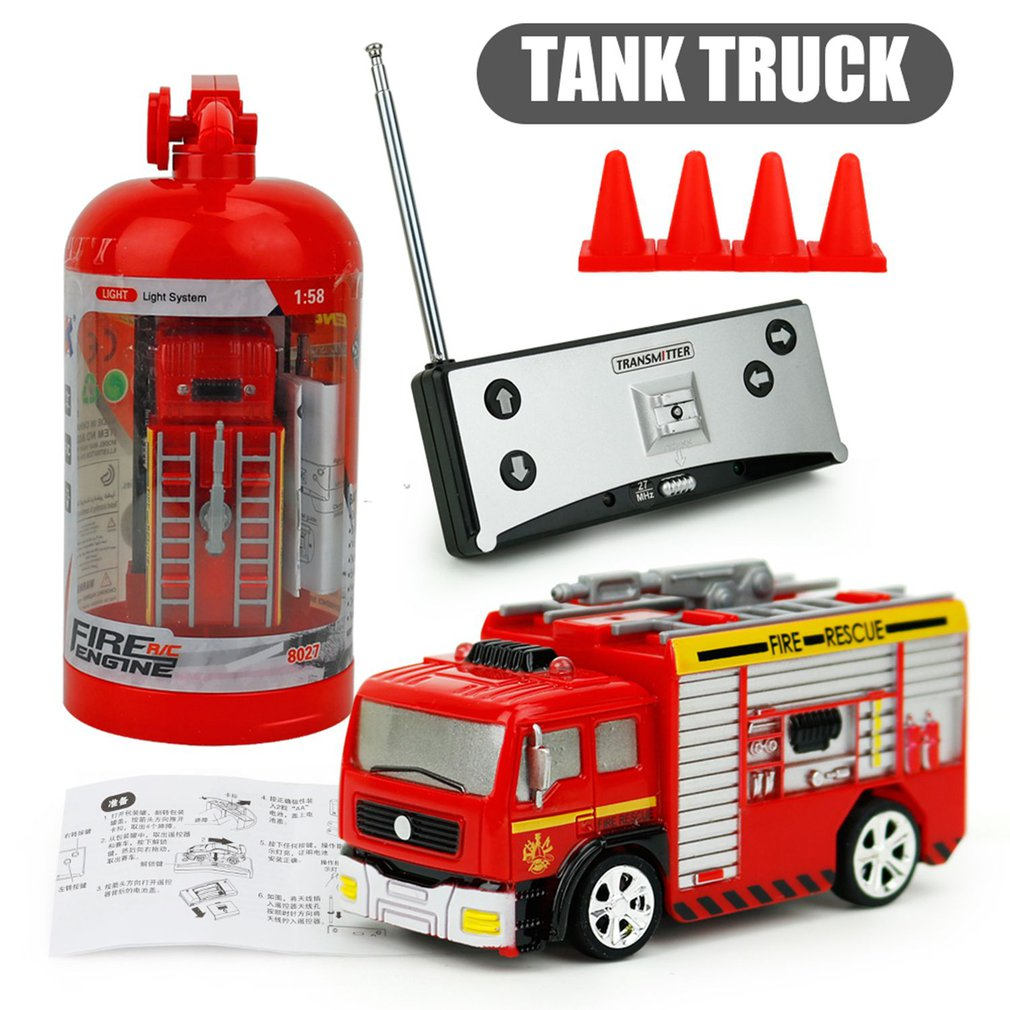 27MHz RC Tank Truck 4CH Rechargeable Portable Mini Remote Control Fire Truck Forward Backward Children Toys