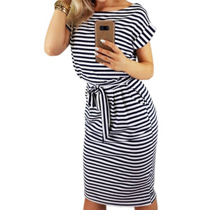 Image 5 - 2019 נשים מקרית פסים קצר שרוול נשים חולצה שמלה אדום אפור טי חולצה שמלת Streetwear קיץ שמלה