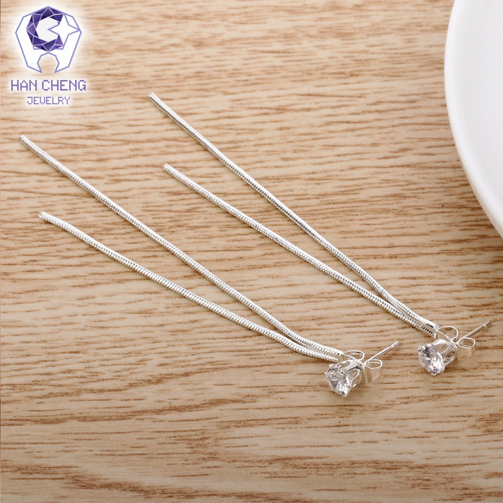 HanCheng New Fashion Silver Plated Dangle Hanging Gem Stone Rhinestone Long Drop Earrings For Women Jewelry brincos bijoux 4
