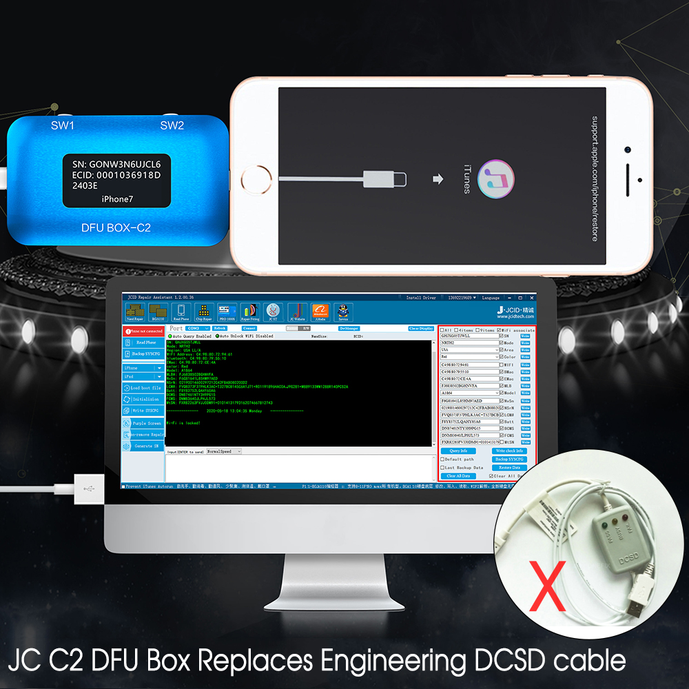 JC DFU BOX C2 Replace Engineering DCSD Cable Enter DFU for iPhone Motherboard One Key Display SN ECID MODEL Information Read