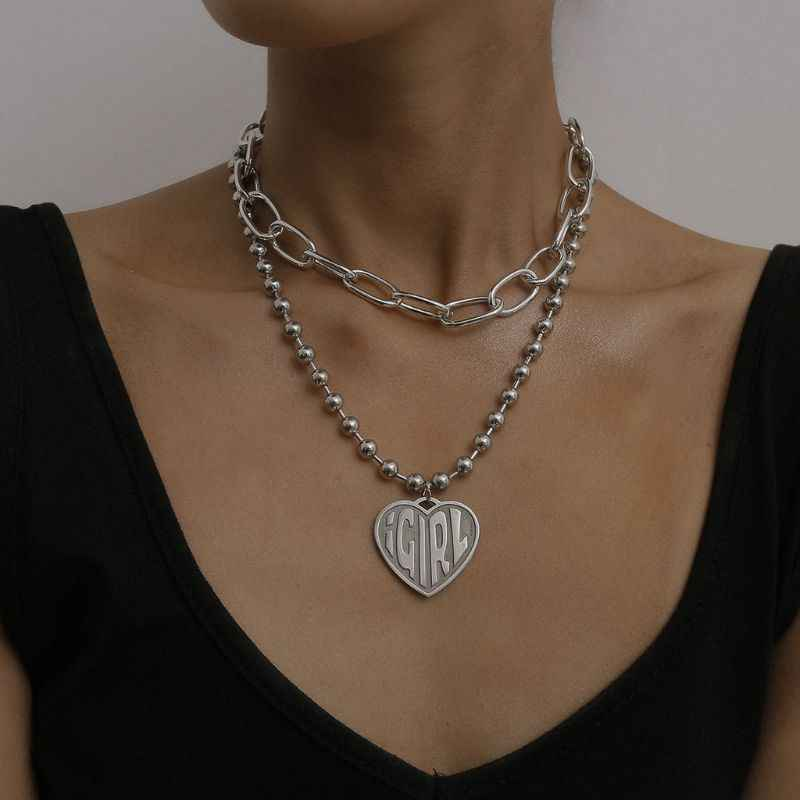 Female Symbol Girls Cool Crush Ball Chain Layer Choker Devil Girl Heart Pendant Necklace Women Gothic Streetwear Jewelry