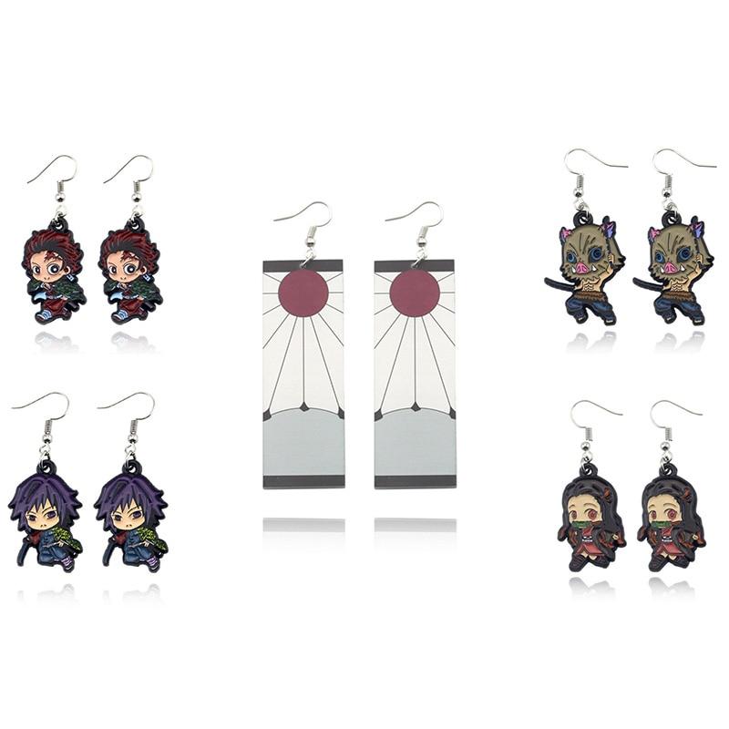 Japanese Anime Demon Slayer Kimetsu No Yaiba Drop Earring Fashion Kamado Tanjirou Nezuko Metal Dangle Earring Statement Jewelry