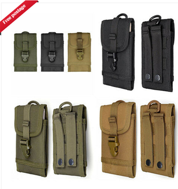 Unisex Men Women Universal Outdoor Phone Bag Waist Bag Hanging Bag Army Tactical Mobile Phone Pouch Case Bag Belt 6.5 Inches