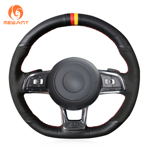 Image 5 - MEWANT Black Genuine Leather Hand Sew Steering Wheel Cover for Volkswagen VW Golf 7 GTI T Roc Passat Variant (R Line) Up! GTI