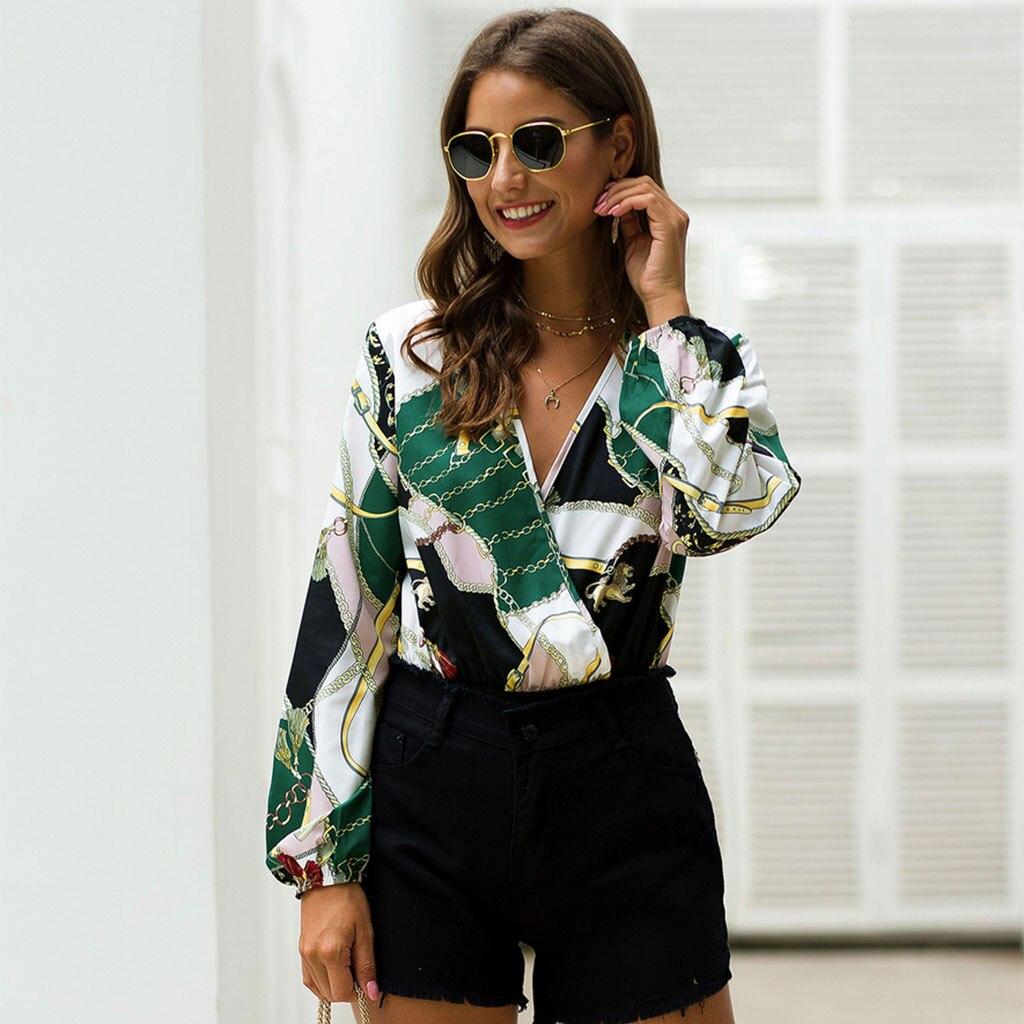 Fashion Womens V-neck Jumpsuit Long Sleeve Print  Patchwork Bodysuit Short Jumpsuit combishort femme ete combinaison short femme