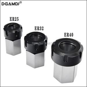 Image 1 - 1 pçs primavera mandril collet titular hex er32 er25 collet bloco 45x65mm para torno máquina de gravura