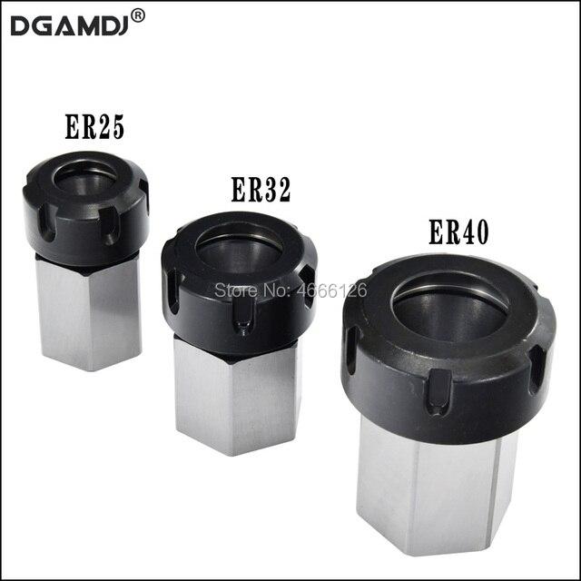 1 pçs primavera mandril collet titular hex er32 er25 collet bloco 45x65mm para torno máquina de gravura