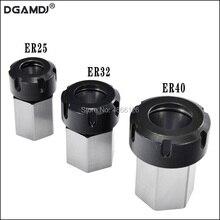 1PCS Frühling Spannzange Halter Hex ER32 ER25 Collet Block 45x65mm Für Drehmaschine Gravur Maschine