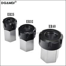 1PCS אביב קולט צ אק מחזיק Hex ER32 ER25 קולט בלוק 45x65mm עבור מחרטה חריטת מכונת