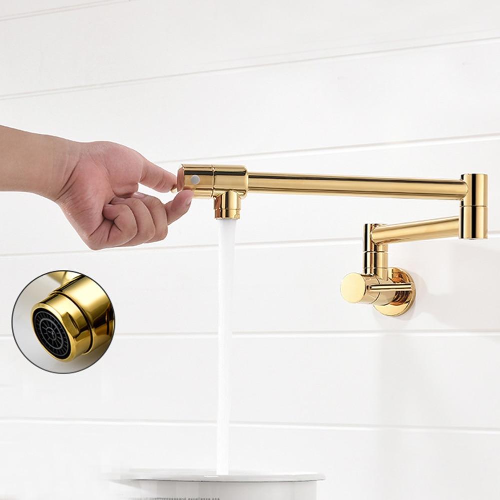Évier de cuisine à la maison Double interrupteur robinets en laiton rotatifs polis robinet pratique mural pliant Durable eau froide