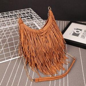 Image 1 - NIGEDU מותג עיצוב בציר נשים ארוך ציצית שקית שרשרת Crossbody שקיות נשים כתף שליח תיק איכות PU תיקים