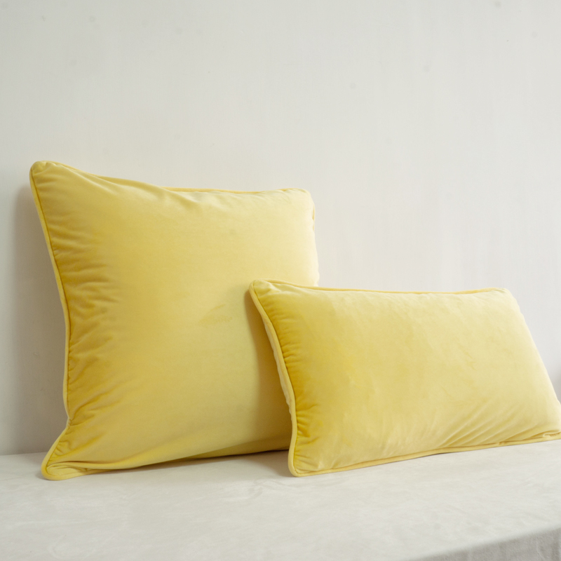 Piping Design Light Yellow Velvet Cushion Cover Lovely Quality Pillow Cover Case No Balling up Waist Pillow Without Stuffing|cushion cover|designer cushion covers|quality cushion covers - title=