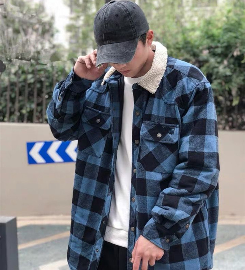 New 2020 Spring Men's Hip Hop Streetwear Fleece Plaid Cotton Coat Fashion Large Size Autunm Coat Casual Velvet Shirt Jackets