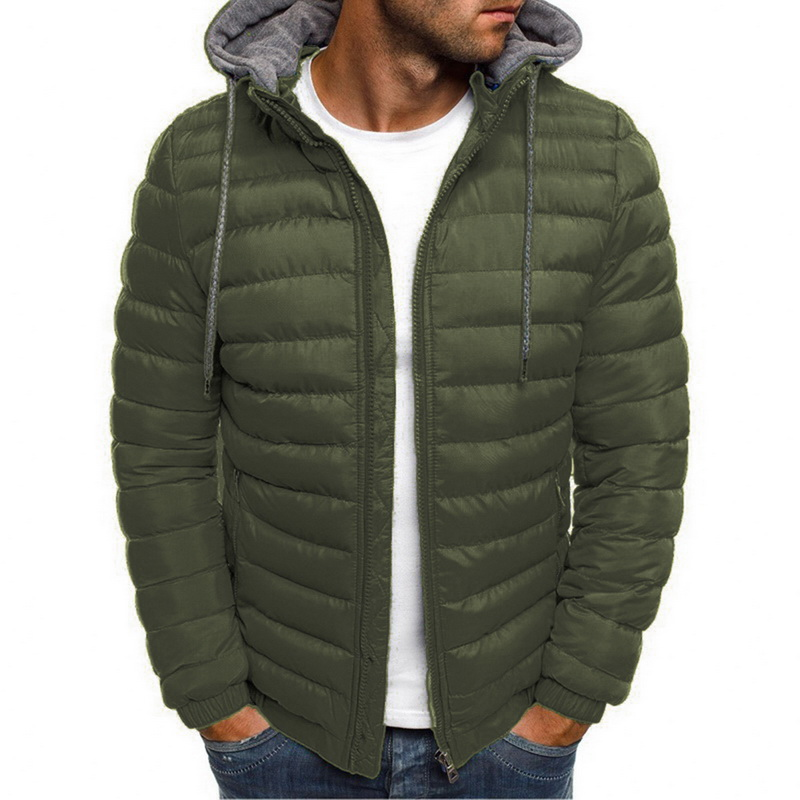 Mens Fashion Winter Hooded Jackets Coat New Padded Thicken Warm Lightweight Parkas Males Solid Color Windproof Jackets 2019
