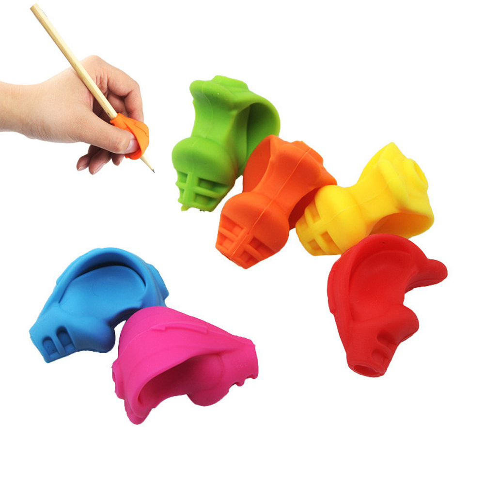 Silicone Grip School Pencil Holder Small Accessories Kids Writing Aid Supplies Snake Head Shape Posture Correction Gift Office