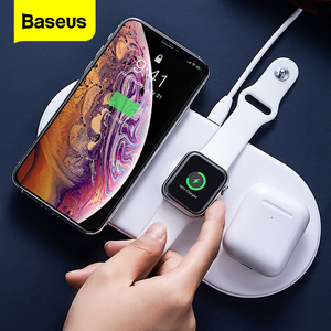 Baseus 3in1 Qi Wireless Charger For Airpods Apple Watch5 4 3 2 iWatch Fast Wireless Charging Pad For iPhone Xs Max Huawei Xiaomi(China)