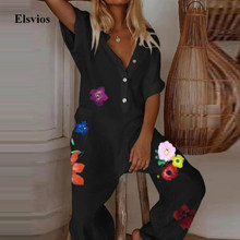 Casual Women Cotton Linen Jumpsuit Summer Short Sleeve Floral Print Playsuits Overalls Sexy V-Neck Button Loose Rompers Bodysuit(China)