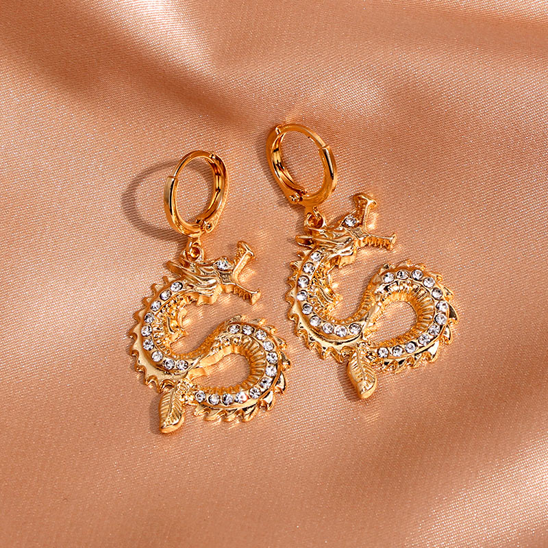 JJFOUCS Vintage Gold Silver Dragon Drop Earrings For Women Personality Animal With Shiny Rhinestone Statement Earrings Jewelry