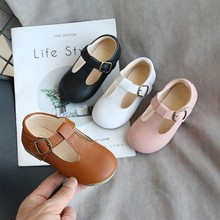 Baby Simple Shoes 2020 New Wide Korean Children Girls Pu Princess Breathable Rubber Danceing Black Flat Shoes Kids Toddler Shoe