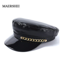 MAERSHEI New Fashion Patent Leather Beret High Quality Ladies Hats Solid Color Flat Top Hat PU Slouchy Bone Cap Women Punk