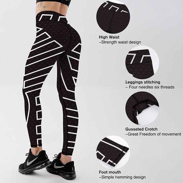 New Mesh Pattern Printed Women Sportswear Leggings Casual Black High Waist Skinny Polyester Leggings 4