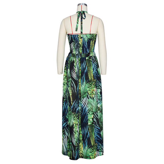 Stigende Women Bohemian Palm Leaf Maxi Dress Sexy High Split Summer Beach Halter Dress Casual Sleeveless Bandage Long Dress S-XL 6